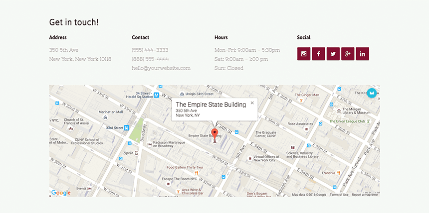Website Builder Contact & Map Block